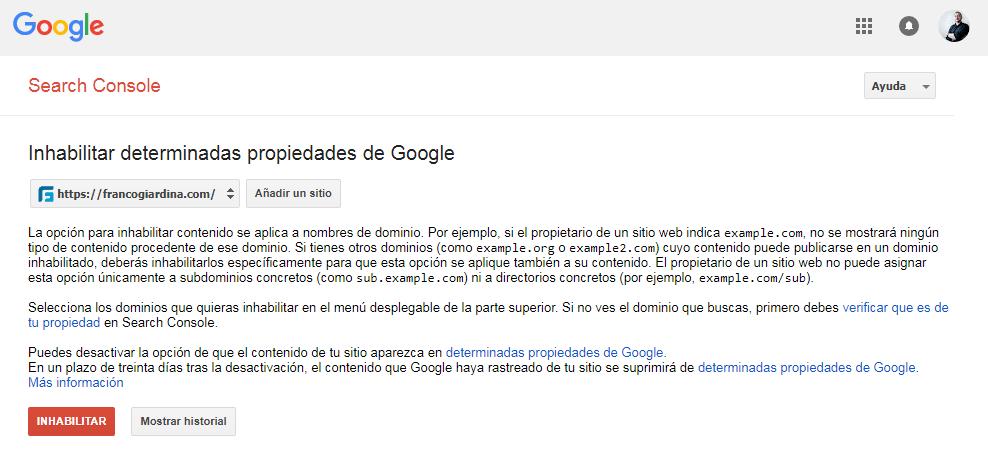 Eliminar tu web de Google