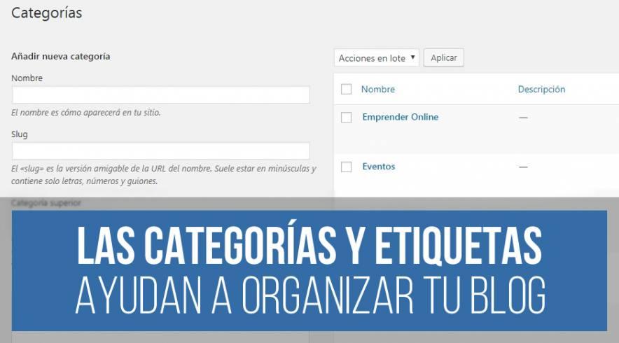 Etiquetas y Categorías en WordPress