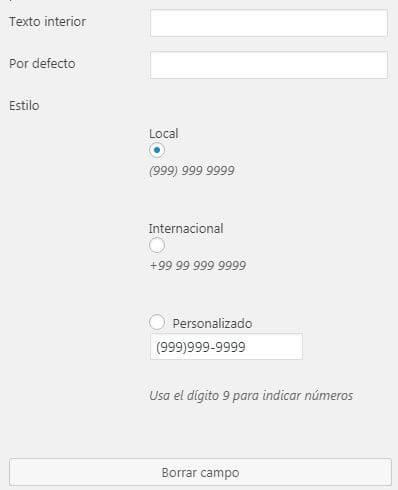 Cam de telefono en formulario Caldera Forms