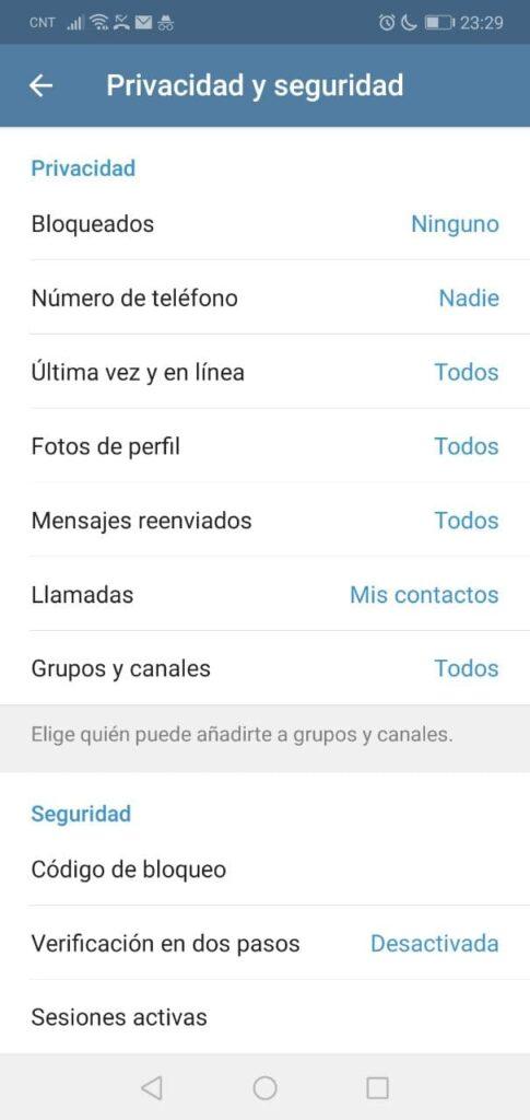Opciones de Privacidad en Telegram